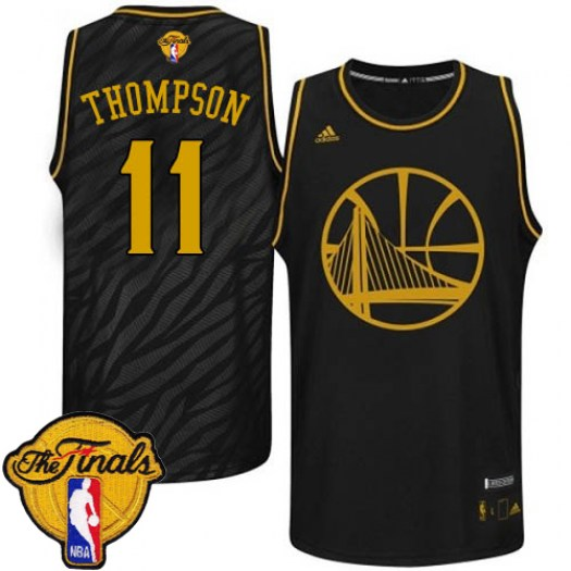 Men's Klay Thompson Golden State Warriors Adidas Authentic Gold Black Precious Metals Fashion 2015 The Finals Patch Jersey